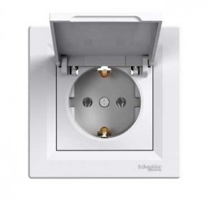 Earthed Socket Outlet With Cover (White)